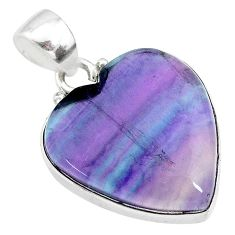 15.08cts natural multi color fluorite heart 925 sterling silver pendant t21307
