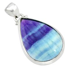 16.82cts natural multi color fluorite pear 925 sterling silver pendant t21311
