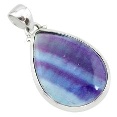 16.28cts natural multi color fluorite pear 925 sterling silver pendant t21325