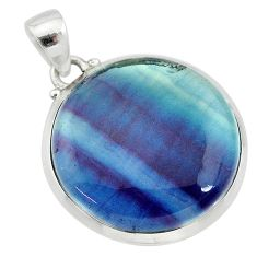 22.30cts natural multi color fluorite round 925 sterling silver pendant t21327