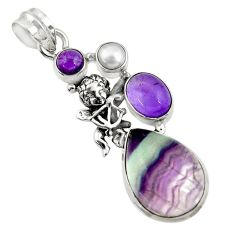 19.48cts natural multi color fluorite silver angel wings fairy pendant d43740