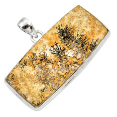 Clearance Sale- 31.53cts natural multi color germany psilomelane dendrite silver pendant d42421