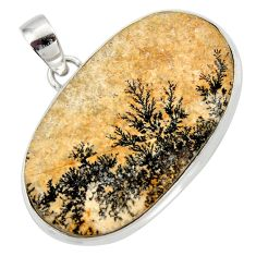 Clearance Sale- 27.69cts natural multi color germany psilomelane dendrite silver pendant d42422
