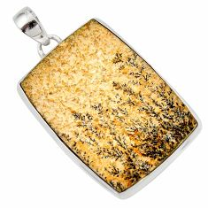Clearance Sale- 30.88cts natural multi color germany psilomelane dendrite silver pendant d45442