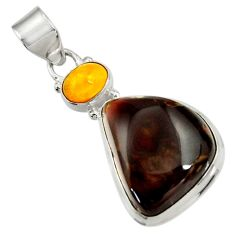 Clearance Sale- 18.15cts natural multi color mexican fire agate 925 silver pendant d43461