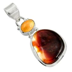 Clearance Sale- 14.72cts natural multi color mexican fire agate 925 silver pendant d43462