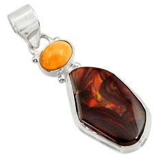 Clearance Sale- 14.09cts natural multi color mexican fire agate 925 silver pendant d43463