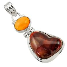 Clearance Sale- 15.02cts natural multi color mexican fire agate 925 silver pendant d43468