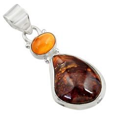 Clearance Sale- 13.99cts natural multi color mexican fire agate 925 silver pendant d43470