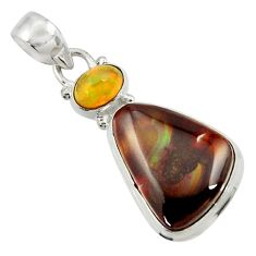 Clearance Sale- 14.20cts natural multi color mexican fire agate 925 silver pendant d43472