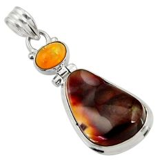 Clearance Sale- 14.90cts natural multi color mexican fire agate 925 silver pendant d43473