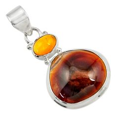 Clearance Sale- 15.02cts natural multi color mexican fire agate 925 silver pendant d43474