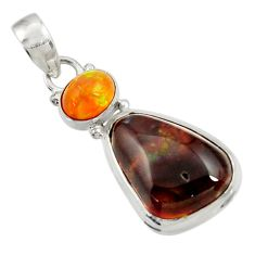 Clearance Sale- 13.15cts natural multi color mexican fire agate 925 silver pendant d43477