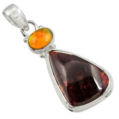 Clearance Sale- 15.02cts natural multi color mexican fire agate 925 silver pendant d43479