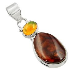 Clearance Sale- 13.94cts natural multi color mexican fire agate 925 silver pendant d43480