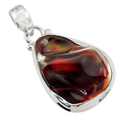 Clearance Sale- 16.62cts natural multi color mexican fire agate 925 silver pendant d43493