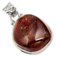Clearance Sale- 26.16cts natural multi color mexican fire agate 925 silver pendant d43494