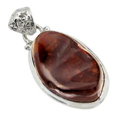 Clearance Sale- 20.02cts natural multi color mexican fire agate 925 silver pendant d43500