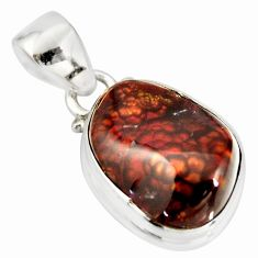 9.37cts natural multi color mexican fire agate 925 silver pendant r20445