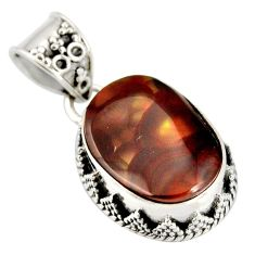 9.63cts natural multi color mexican fire agate 925 silver pendant r20448