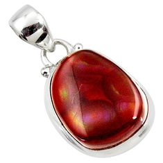 12.58cts natural multi color mexican fire agate 925 silver pendant r50063