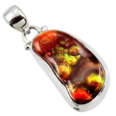 12.60cts natural multi color mexican fire agate 925 silver pendant r50065