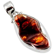 12.62cts natural multi color mexican fire agate 925 silver pendant r50069