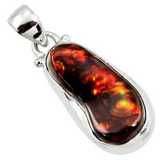12.07cts natural multi color mexican fire agate 925 silver pendant r50073