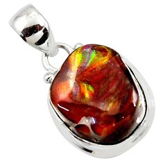 12.60cts natural multi color mexican fire agate 925 silver pendant r50074