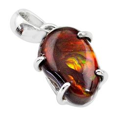 8.68cts natural multi color mexican fire agate 925 silver pendant t20679