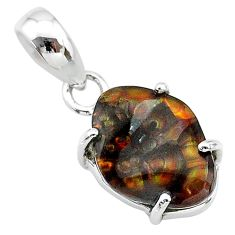 6.55cts natural multi color mexican fire agate 925 silver pendant t20693