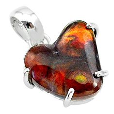 10.08cts natural multi color mexican fire agate 925 silver pendant t20695
