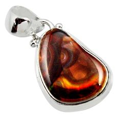 11.57cts natural multi color mexican fire agate fancy 925 silver pendant r50076