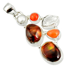 17.36cts natural multi color mexican fire agate pearl 925 silver pendant r20330