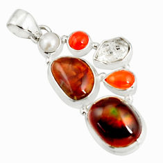 19.50cts natural multi color mexican fire agate pearl 925 silver pendant r20332
