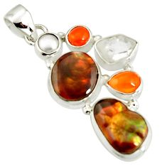 18.15cts natural multi color mexican fire agate pearl 925 silver pendant r20334