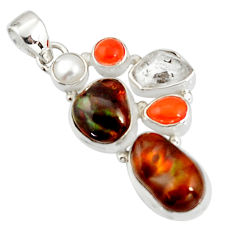 18.47cts natural multi color mexican fire agate pearl 925 silver pendant r20336