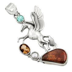 Clearance Sale- 13.62cts natural multi color mexican fire agate silver unicorn pendant d43487