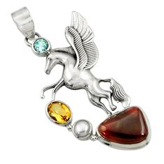 Clearance Sale- 12.02cts natural multi color mexican fire agate silver unicorn pendant d43491
