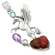 Clearance Sale- 13.62cts natural multi color mexican fire agate silver unicorn pendant d43495