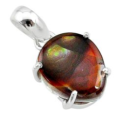 8.68cts natural multi color mexican fire agate sterling silver pendant t20720