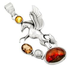 19.86cts natural multi color mexican fire opal 925 silver unicorn pendant d43483