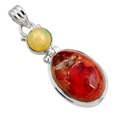Clearance Sale- 16.70cts natural multi color mexican fire opal oval 925 silver pendant d43801