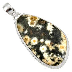 29.93cts natural multi color ocean sea jasper (madagascar) silver pendant d41352