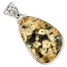 24.38cts natural multi color ocean sea jasper (madagascar) silver pendant d42339