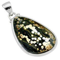 14.77cts natural multi color ocean sea jasper (madagascar) silver pendant t22431