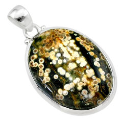 18.85cts natural multi color ocean sea jasper (madagascar) silver pendant t22441