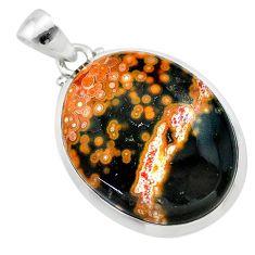 18.82cts natural multi color ocean sea jasper (madagascar) silver pendant t22442