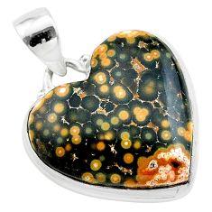 17.57cts heart multi color ocean sea jasper (madagascar) silver pendant t22976