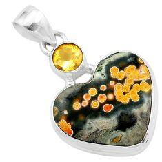 14.20cts natural multi color ocean sea jasper (madagascar) silver pendant t23132